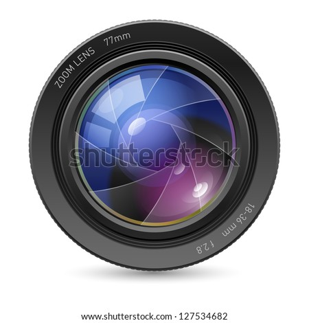 Camera icon Lens. Illustration on white background - stock vector