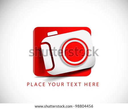 Camera Icon on white button original illustration. - stock vector