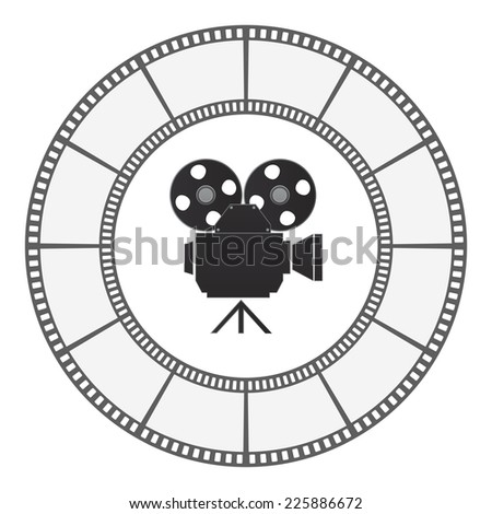 camera icon round film strip frame - stock vector
