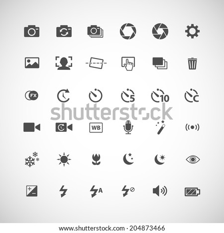 camera icon set, each icon is a single object (compound path), vector eps10