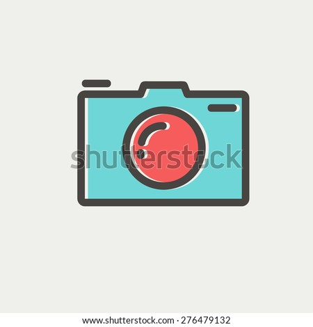 Camera icon thin line for web and mobile, modern minimalistic flat design. Vector icon with dark grey outline and offset colour on light grey background. - stock vector