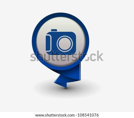 camera icon, vector - stock vector