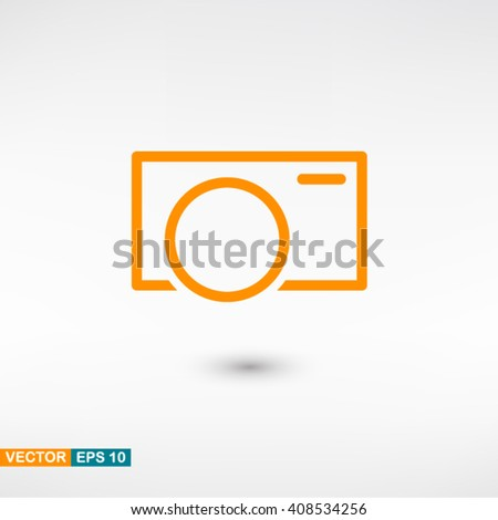 Camera icon vector eps 10. Orange Camera icon with shadow on a gray background. - stock vector