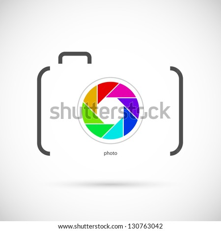 Camera icon with colorful lens. Outline shape. - stock vector