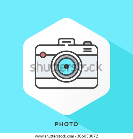 Camera icon with dark grey outline and offset flat colors. Modern style minimalistic vector illustration for photo capture, editing, archiving hardwares and softwares. - stock vector