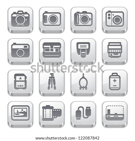 Camera Icons and Camera Accessories Icons : Silver Style - stock vector