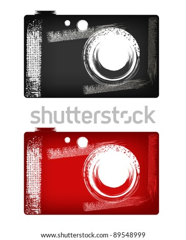 Camera illustration in style grunge (black and red) - stock vector