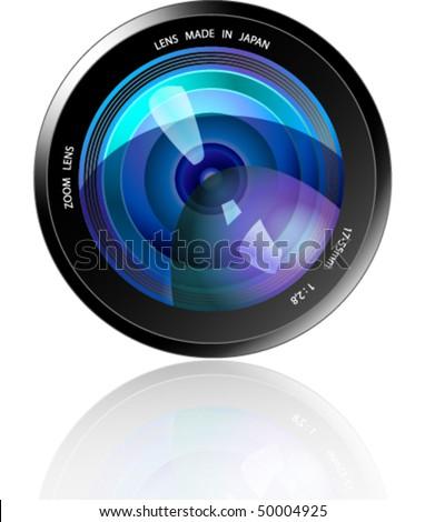 Camera Lens - Blue - stock vector