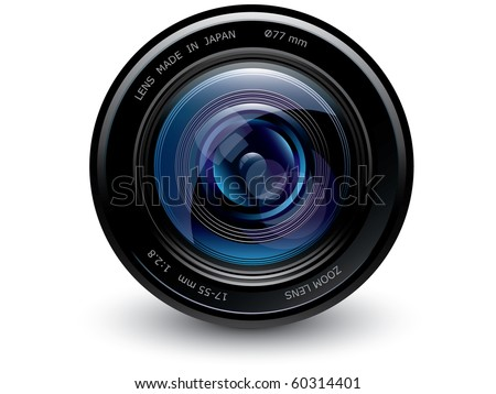 Camera lens BLUE - stock vector