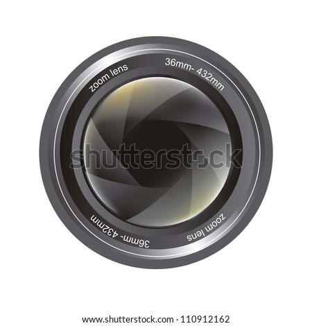 camera lens isolated over white background. vector illustration - stock vector