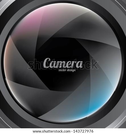 camera lens over  black background vector illustration - stock vector
