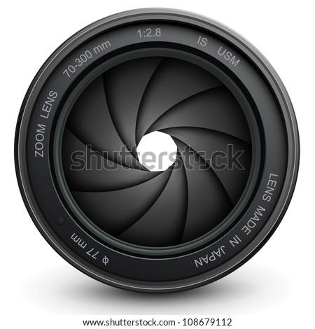 camera lens shutter, vector illustration. - stock vector