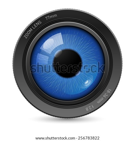 Camera lens with blue eyes in the center - stock vector