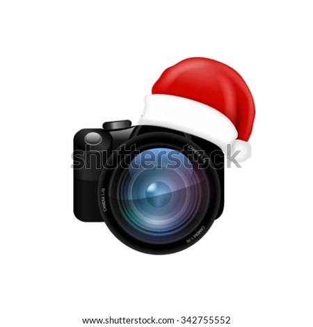 Camera lens with Santa hat. Vector