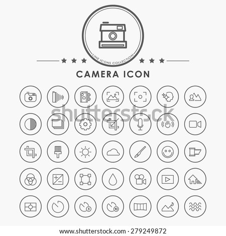 camera minimal line icons with circle button - stock vector