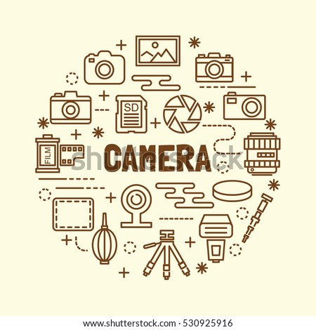 Optical icons vector symbols stock vector 177471116 for Camera minimal