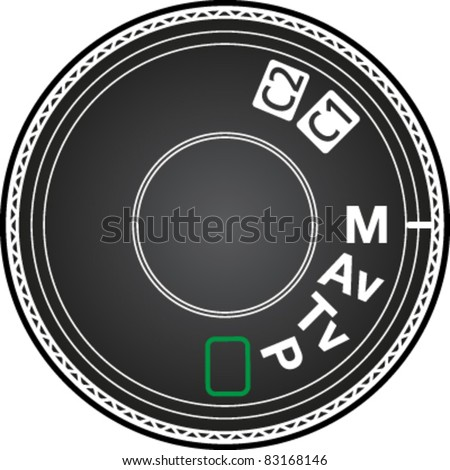 Camera mode dial for choosing shooting mode: Auto mode, Program mode, Aperture priority mode, Shutter priority mode, Manual mode in vector - stock vector