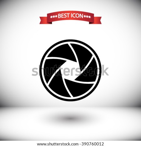 Camera objective vector icon. Camera objective icon under the red ribbon. Shadow under Camera objective vector icons. Camera objective icon on gray background.  - stock vector
