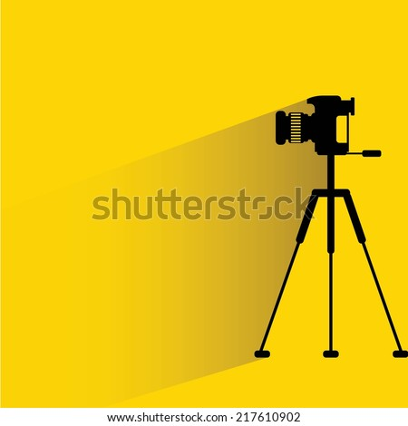 camera on a tripod, yellow background, flat and shadow theme design - stock vector
