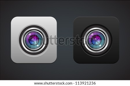 Camera photo lens icon - stock vector
