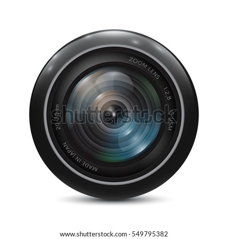 Camera photo lens on a white background. Vector illustration.