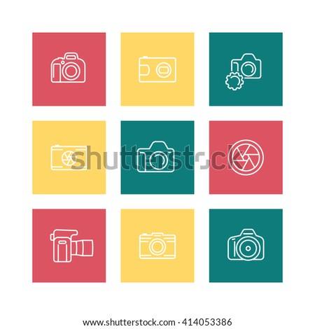 camera, photography line icons, dslr, aperture, slr camera square icons isolated on white, vector illustration - stock vector