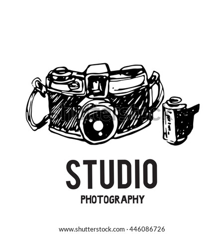 Camera photography studio vector illustration with text.  - stock vector