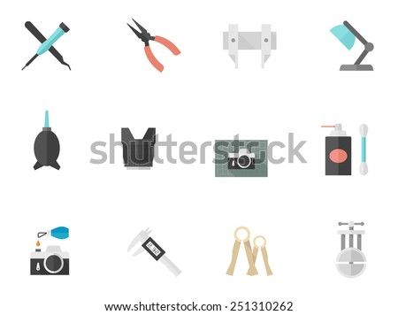 Camera repair icons in flat color style - stock vector