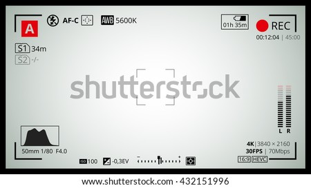 Camera screen with 16x9 Full HD and 4k video grid. Most of shooting settings like AF dot, exposure and camera options. Recording Rec led blinked. Vector background - stock vector