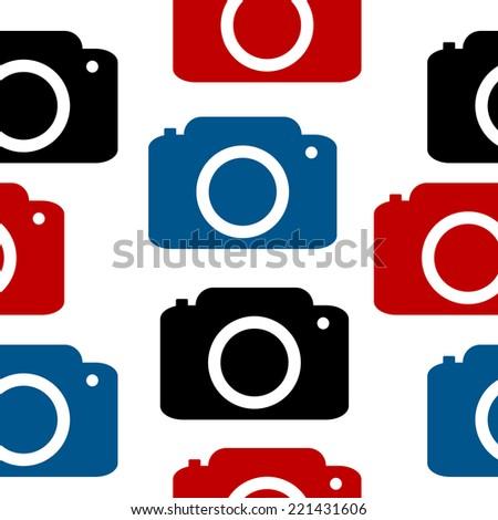 Camera seamless pattern on white background. Vector illustration. - stock vector