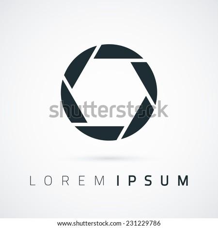 Camera shutter, simple conceptual logo. Vector illustration - stock vector