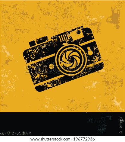 Camera symbol,Grunge vector - stock vector