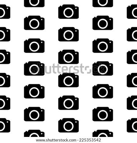 Camera symbol seamless pattern on white background. Vector illustration. - stock vector