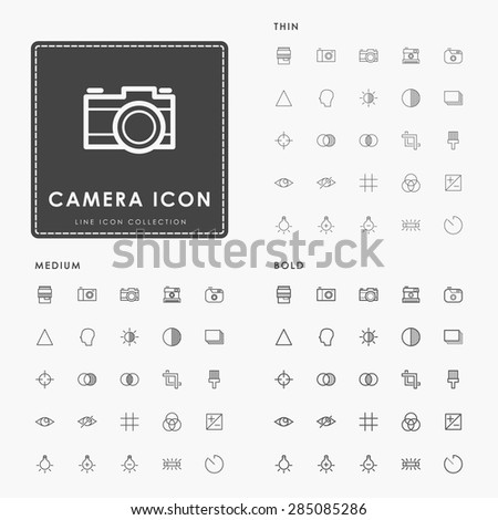 camera thin, medium and bold line icons - stock vector