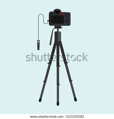Camera,tripod,remote control. flat icon ,for web and mobile