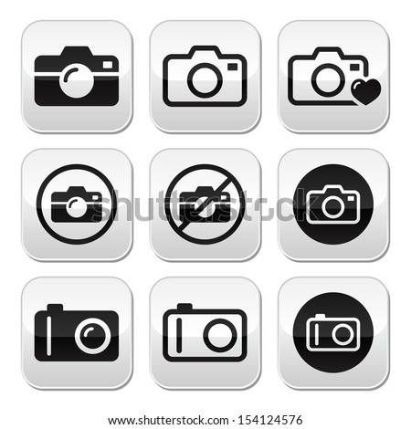 Camera vector buttons set - stock vector