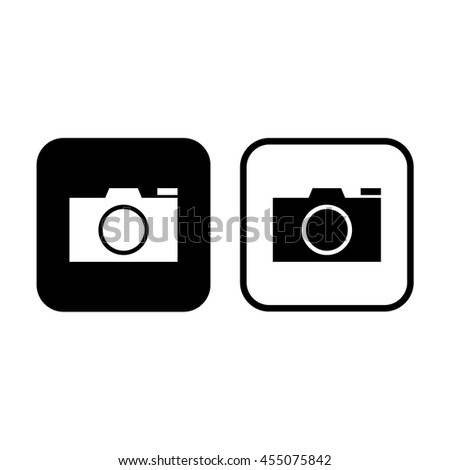 Camera vector icon. Black and white - stock vector