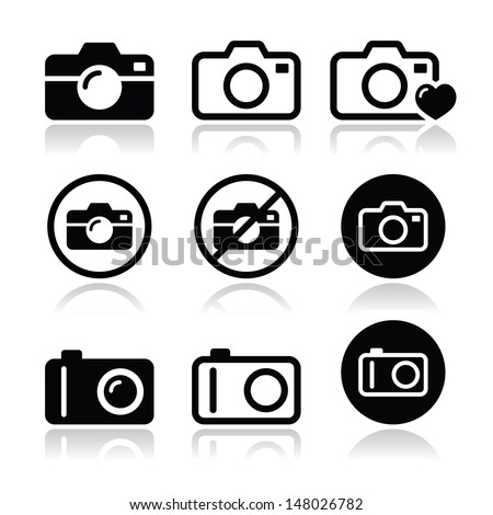 Camera vector icons set - stock vector