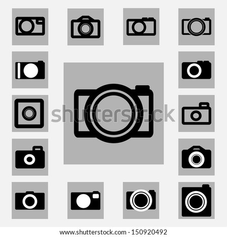 Camera vector icons set black and white color - stock vector