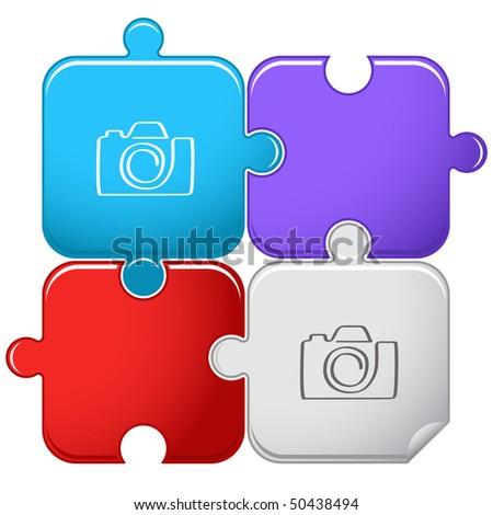 Camera. Vector puzzle. - stock vector