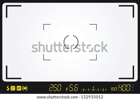 camera viewfinder with exposure and camera settings. - stock vector