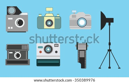 camera vintage flat icon set film roll photography  - stock vector