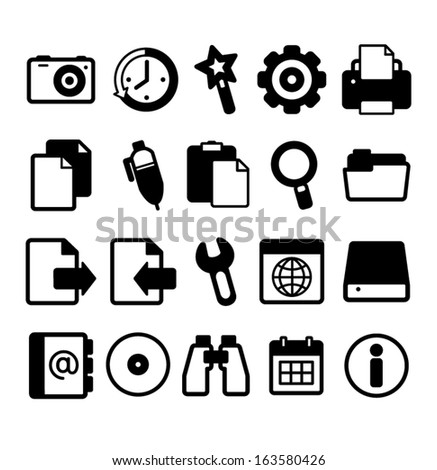 Camera, Watch, Wand, Printer, Settings, Files, Document, Search, Folder, Send, Pen, Download, Key, Disk, Web, Addresses, Disc, Binoculars, Calendar, Information