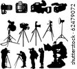 cameraman and cameras collection - vector - stock vector