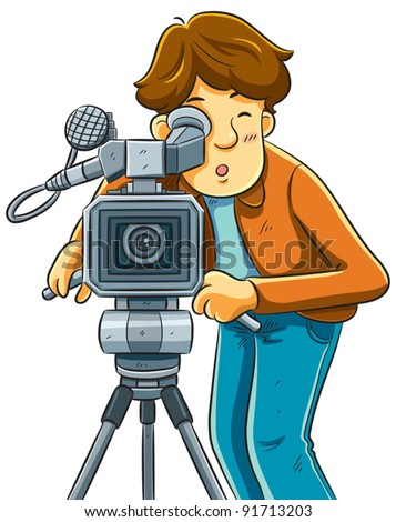 Cameraman Shoot The Cinema With Movie Camera - stock vector