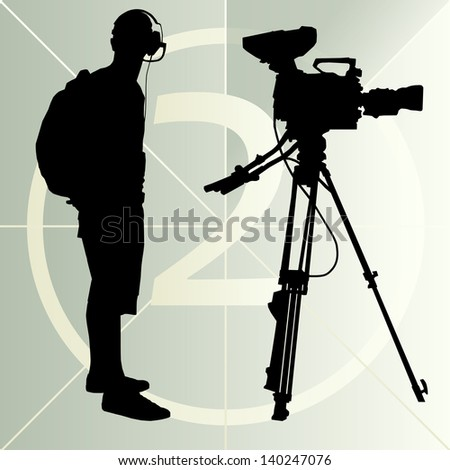 Cameraman silhouette vector background and film countdown number - stock vector