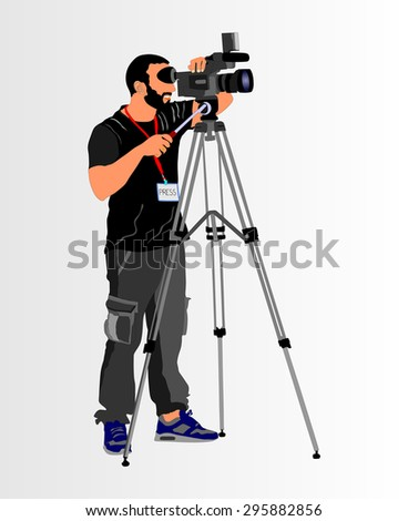 Cameraman with video camera in studio isolated on background. Vector illustration. - stock vector