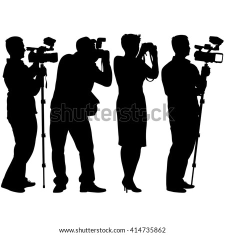 Cameraman with video camera. Silhouettes on white background. Vector illustration. - stock vector