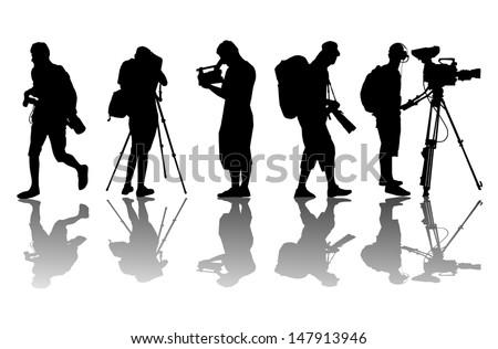 Cameramen and camcorder video operator vector background - stock vector