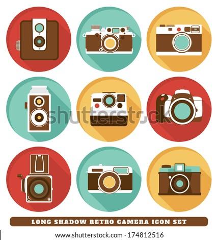 Cameras - Long Shadow Retro Icon Set - stock vector
